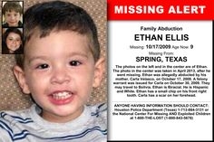 ETHAN ELLIS, Age Now: 9, Missing: 10/17/2009. Missing From SPRING, TX. ANYONE HAVING INFORMATION SHOULD CONTACT: Houston Police Department (Texas) 1-713-884-3131.