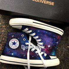 Personalized Handpainted Galaxy Canvas Shoes, Custom Painted Galaxy Converse, Galaxy Design Painted Source by Haleigh_Eggo shoes Galaxy Converse, Mode Converse, Galaxy Shoes, Converse All Star, Cute Converse Shoes, Converse Trainers, Painted Converse, Painted Canvas Shoes, Painted Sneakers