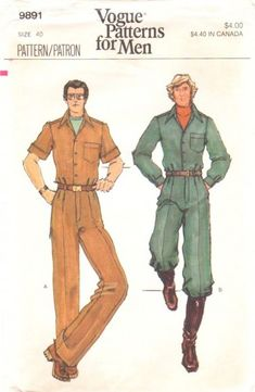 Vogue 9891 Vintage 70s Mens Vintage Jumpsuit Pattern Chest 40 Uncut