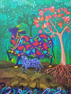 ' Cow is a symbol of the divine bounty of Earth. ' - Painted by Artist Arti Vohra Holi Painting, Holi Drawing, Pencil Drawings, Art Drawings, Indian Elephant, Indian Artist, Mythology, Folk Art, Contemporary Art