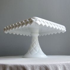 Milk Glass Square Cake Plate or Stand on by BarkingSandsVintage, $99.00---- I want this one also:)