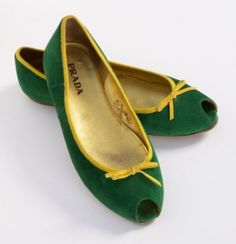 Prada Kelly Green Flats. Perfect for #Baylor!