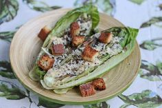 Light Grilled Caesar Salad with Gluten-Free Croutons © Jeanette's Healthy Living