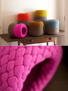 Sonya Yong James' knitted felt wool. She sources the wool directly from the sheep, which makes for a sustainable hand-made process.  (@Natalie this has your name written all over it!)