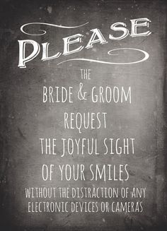 Matte Printed Chalkboard Sign for an Unplugged Wedding. See the eyes of loved ones, and prevent the overly enthusiastic from photobombing your professional ceremony photos at the same time. Ceremony Signs, Wedding Ceremony, Wedding Programs, Wedding Bells, Reception Signs, Wedding Trends, Wedding Tips, Wedding Stuff, Budget Wedding
