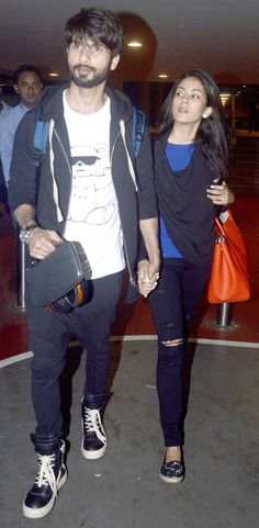 Shahid Kapoor and Mira Rajput spotted at Mumbai airport walking hand-in-hand. #Bollywood #Fashion #Style #Beauty #Handsome