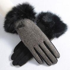 Stylish 2-Toned Herringbone Gloves