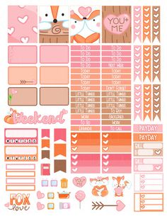 Printable Planner Stickers Fox Valentine Love by LaceAndLogos