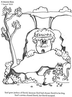 David Hides From King Saul Coloring Pages By Jason