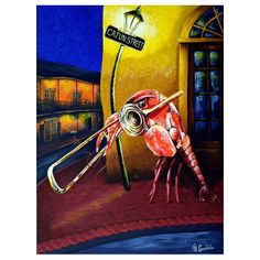 "14"" x 11"" Red Bean Cajun Street Bordered Print"