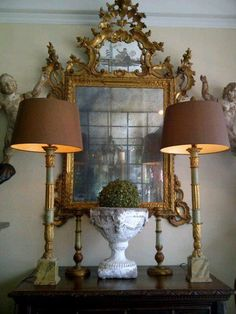 Ornate mirror with lamps. Ornate Mirror, Vintage Mirrors, Mirror Mirror, French Mirror, Sunburst Mirror, Wall Mirrors, French Decor, French Country Decorating, Decoration Baroque