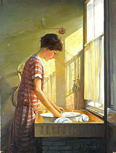 Walter Bonner Gash, Washing Up.  This charming snapshot of family life is…