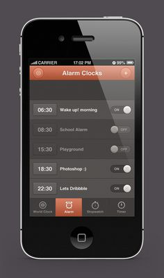 iPhone Alarm Clocks App Design by Waseem Arshad, via Behance