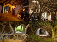 Pembrokeshire, Wales is home to a family with a house straight out of The Hobbit. This amazing architectural wonder is created virtually completely from the natural materials found around the residence.    The walls are made out of stone and mud and water enters the house by gravity from a nearby spring. Non-natural materials, such as windows and plumbing, were recovered from trash.