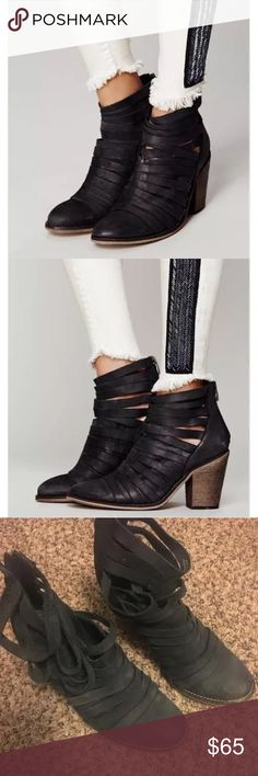 Free People Black Hybrid Booties Size 7 Bought online from free people for $198 (still available), fits true to size, some sign of wear especially on the bottom of the left bootie its missing the heel top Free People Shoes Ankle Boots & Booties