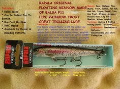 RAPALA ORIGINAL FLOATING MINNOW MADE OF BALSA F11 GREAT TROLLING LURE  http://fishingbaitslures.com/products/rapala-original-floating-minnow-made-of-balsa-f11-great-trolling-lure