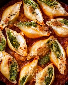 The most perfect stuffed pasta shells, with vegan ricotta and chive pesto.