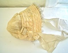 Antique Victorian Bonnet Smocked Silk