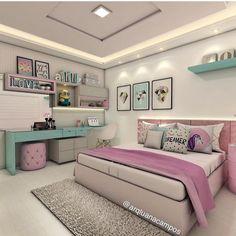 Cute Tween Bedroom Interior Design Ideas, Color Scheme plus Decor Teenage Girl Bedroom Designs, Teenage Girl Bedrooms, Modern Bedroom Design, Interior Modern, Girls Bedroom, Bedroom Decor, Scandinavian Interior, Teen Bedroom Colors, Tween Bedroom Ideas
