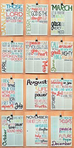 Scripture for each month. Use this to display birthdays and events and reminisce over the highlights of the year! - vil omdanne denne til en havekalender, der viser, hvornår der skal gøres hvad i haven