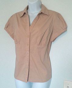 CATO BROWN BUTTON UP CAP SLEEVE COLLAR SHIRT TOP SIZE LARGE #Cato #ButtonDownShirt