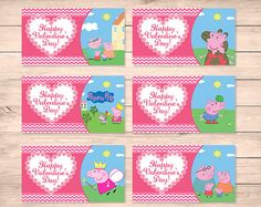Printable Peppa Pig Valentineu0027s Day Cards Pink By ApothecaryTables