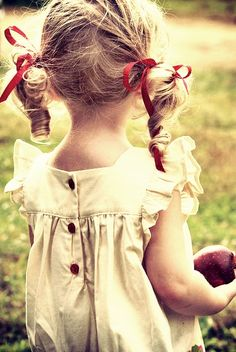 Vintage dresses and hair ribbons for little girl portraits  bookends & daisies