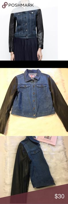 Jeans jacket with leather sleeve Jacket Jackets & Coats Jean Jackets