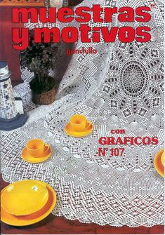 Pattern for this tablecloth and more at this site. Charts!!!!    Мобильный LiveInternet Muestras y Motivos ganchillo №107 салфетки, скатерти, занавески, покрывала.   wita121 - wita121  