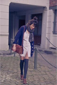 Shirt dress and cozy oversized cardigan.