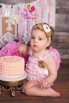Gold Sparkle 1st Birthday, Pink and Gold birthday outfit, Gold Cake Smash Outfit, Baby Girl Birthday Pictures, Gold Glitter Birthday Party by pinkpaisleybowtique