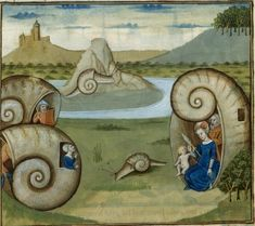 Snail houses from the illuminated manuscripts of the National Library of France, no further info