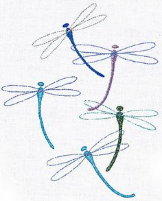 Metallic thread gives these dragonflies their glitter. Here are guidelines for selecting the right threads for your embroidery projects.