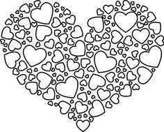 Coloriage, Un Coeur Rempli De Petits Coeurs