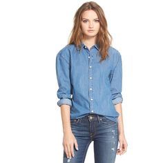 3x1 NYC Oversize Chambray Boyfriend Shirt (1,140 MYR) ❤ liked on Polyvore featuring tops, ave b, button front tops, boyfriend shirt, shirts & tops, blue button down shirt and oversized button up shirt