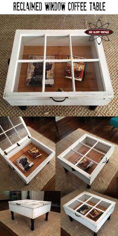 Salontafel van oud raam