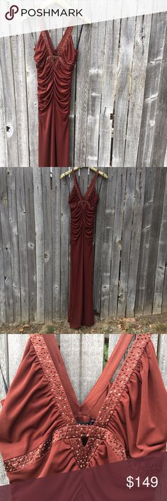 """{laundry by shelli segal} Chocolate Evening Gown 6 BNWT!!!! Beautiful, showstopper, chocolate brown fitted evening gown. Perfect for: Prom, Mother of the Bride, bridesmaid, Spring wedding guest--any event! Rhinestone and cutout detail on chest and straps. Cinching through waist adds feminine silhouette with stretchy comfort. 95% Polyester, 5% Spandex. 15"""" pit to pit, 13"""" waist, (with lots of stress!), 62"""" shoulder to hem length. Offers warmly welcomed!! Laundry by Shelli Segal Dresses Prom"""