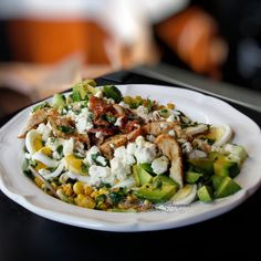 World's BEST salad EVER packed with chicken, bacon, avocado, cucumbers, roasted corn and KILLER Cilantro Lime Vinaigrette! (gluten free)