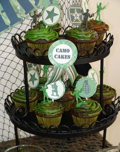 Alex Keating posted Camo cupcakes for Chas's Birthday to his -food stuff- postboard via the Juxtapost bookmarklet. Military Cupcakes, Camo Cupcakes, Army Cake, Camouflage Cupcakes, Party Cupcakes, Army Birthday Parties, Army's Birthday, Birthday Ideas, Birthday Cakes