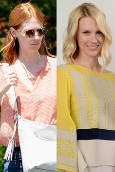 January Jones  Icy blonde January Jones debuted her red hair on June 19, 2012 as she exited a doctor's office in Beverly Hills.