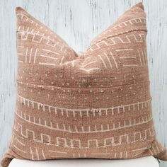 Faded rust authentic mudcloth pillow cover by HouseofPillows