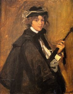 The Athenaeum - Girl in Black Cape (William James Glackens - )