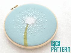 Dandelion Embroidery Pattern, DIY Hand Embroidery, PDF Pattern, Flower Hoop Art, Needlecraft Design, Instant Download, Dandelion Clock Art