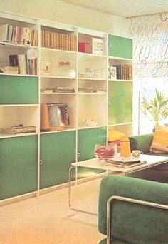 """""""A built-in wall system. The construction is divided into cubes which are fixed, but the shelves within the cubes are adjustable."""" -  The House Book, c.1974"""