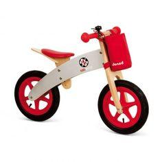 Bici de madera sin pedales, con timbre y bolsa para guardar cosas, de Janod  $104.49  €81