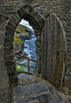 """Beyond the Portal"". View to the sea from Tintagel Castle wall, Cornwall, England,UK, by Photographer Keith Lancaster. Taken 2009-07-25."