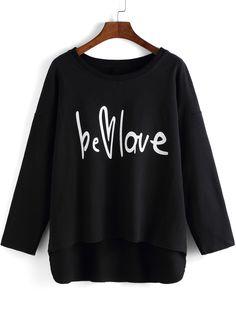 T-Shirt Rundhals mit Buchstaben Druck - schwarz 9.19