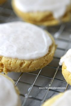 Soft Glazed Pumpkin Sugar Cookies...They are easy to make, stay soft for days and are just the right amount of spicy and sweet. YUM!