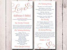 "DIY Wedding Program Template - Heart Wedding Program Coral Reef Navy ""Love"" Script - Printable Tea Length Program - Order of Service by PaintTheDayDesigns on Etsy"