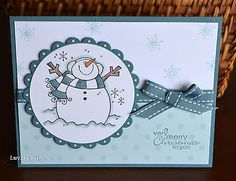 A VERY MERRY CHRISTMAS Smiling Snowman card kit (4) ~uses Stampin Up